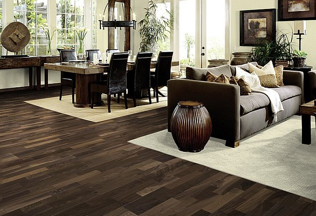 Cheap hardwood flooring how to choose quality and - Dark hardwood floor living room ideas ...