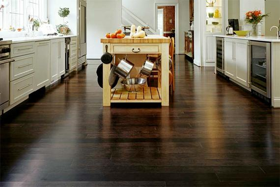 Selecting kitchen flooring wood floors plus for Dark tile kitchen floor